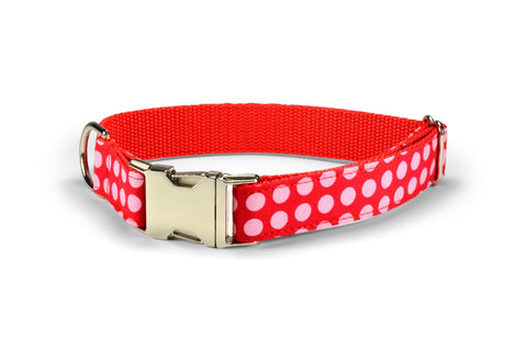 New! Pink On Red Polka Dot Dog Collar