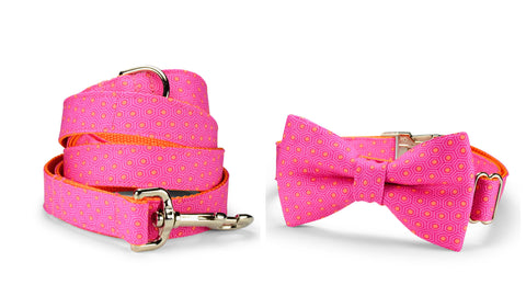Pink And Orange Tortoise Shell Bow Tie Collar and Leash Set