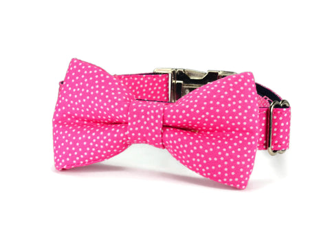 Pink Polka Dot Bow Tie Collar and Leash Set