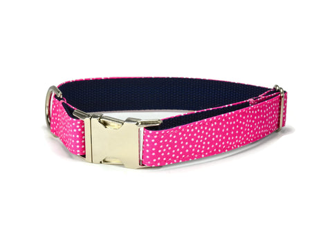 dog collar, pink dog collar, polka dot dog collar, pink polka dot dog collar, preppy dog collar, girl dog collar, girly dog collar, navy and pink dog collar