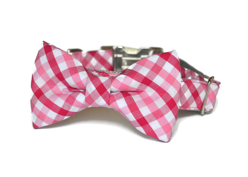 Red And Pink Gingahm Bow Tie Dog Collar
