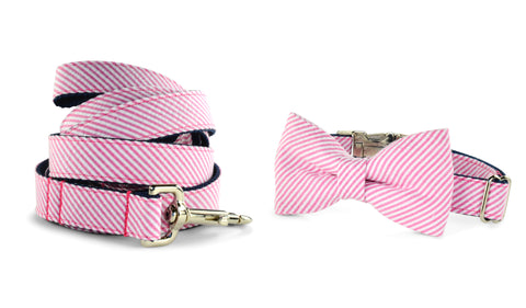 New! Pink Seersucker Bow Tie Collar and Leash Set