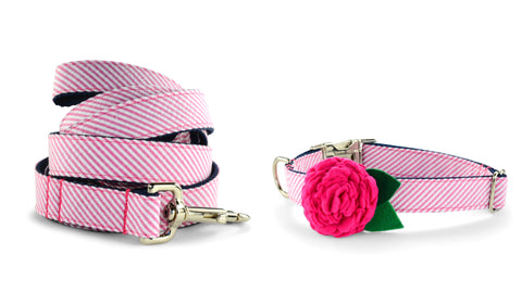 New! Pink Seersucker Bloom Collar and Leash Set w/ Fuchsia Bloom