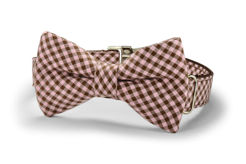 Pink And Brown Gingham Bow Tie Dog Collar