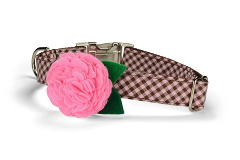 Pink And Brown Gingham Bloom Dog Collar w/ Carnation Bloom