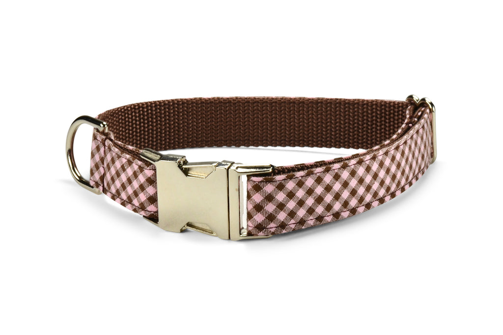 Pink And Brown Gingham Dog Collar