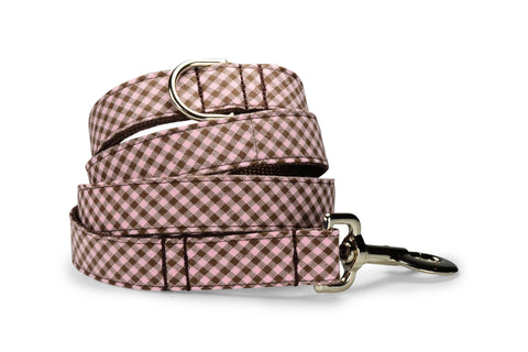 Pink And Brown Gingham Bloom Collar and Leash Set w/ Carnation Bloom