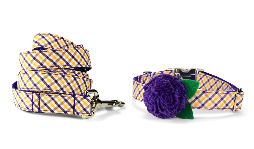 Purple And Gold Gingham Bloom Collar and Leash Set w/ Purple Bloom