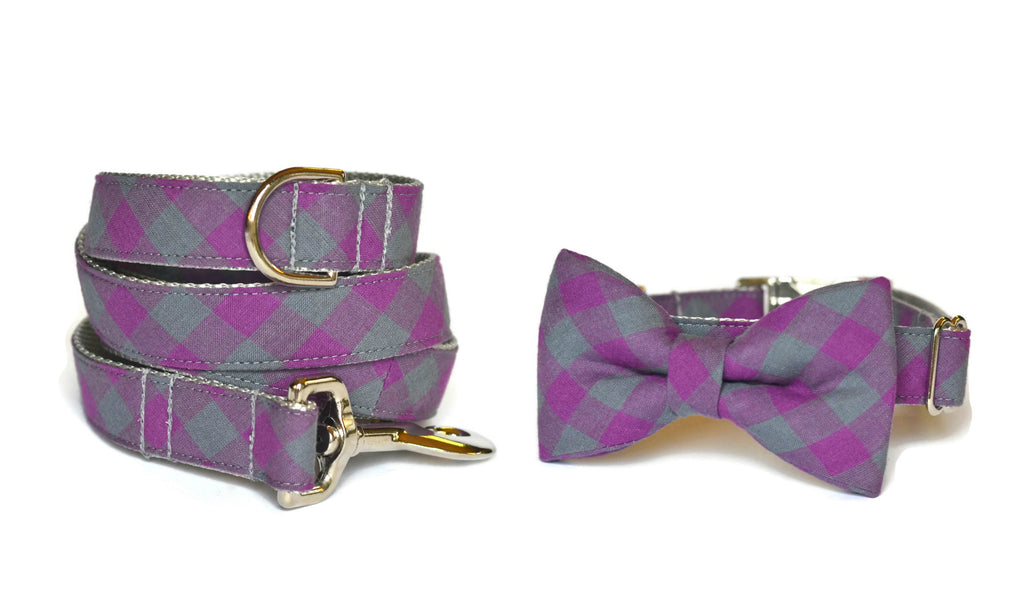 Purple And Gray Buffalo Plaid Bow Tie Collar and Leash Set