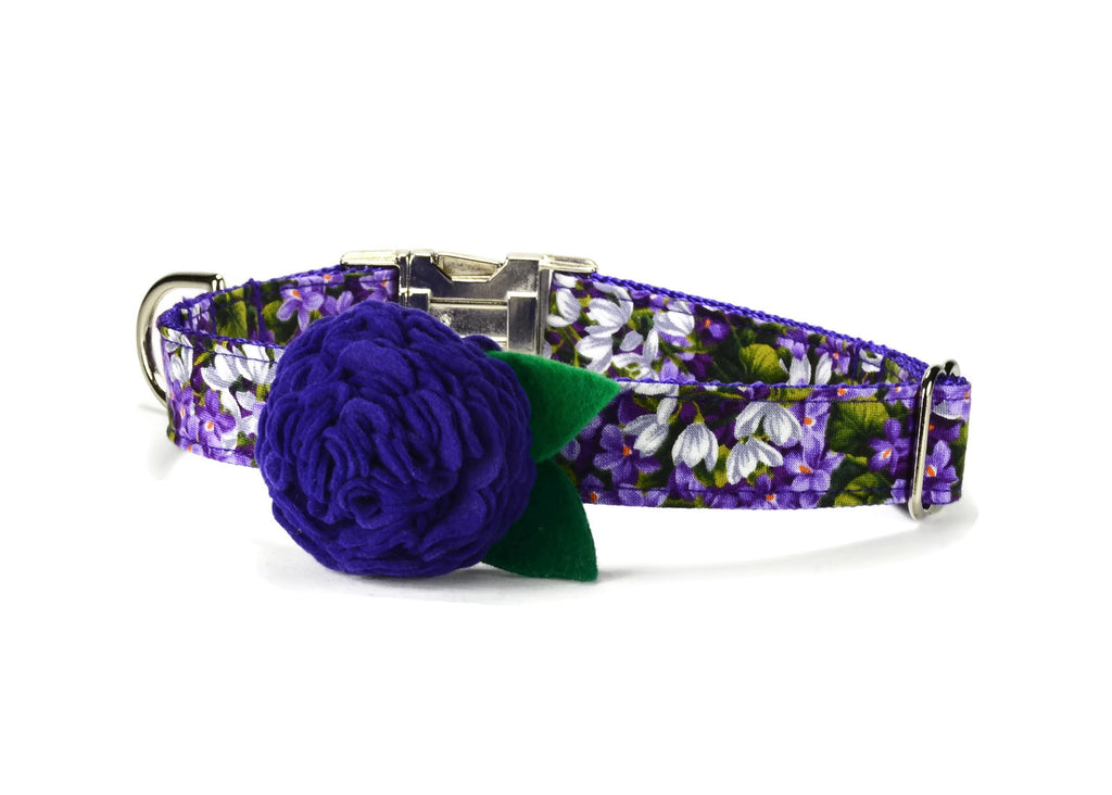 Purple Floral Bloom Dog Collar w/ Purple Bloom