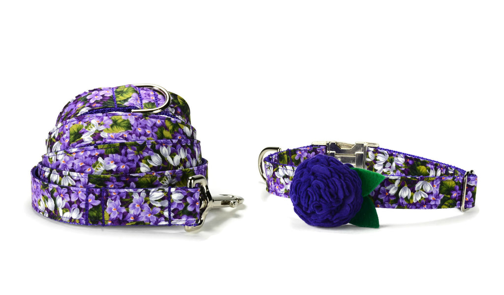 Purple Floral Bloom Collar and Leash Set w/ Purple Bloom