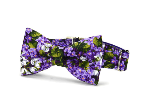 Purple Floral Bow Tie Collar and Leash Set