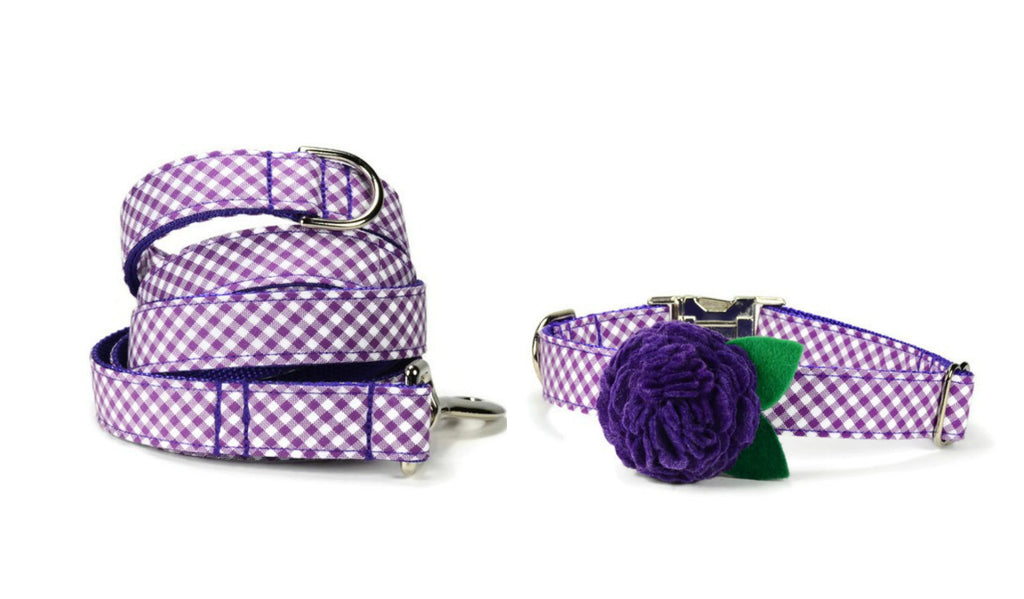 Purple Gingham Bloom Collar and Leash Set w/ Purple Bloom