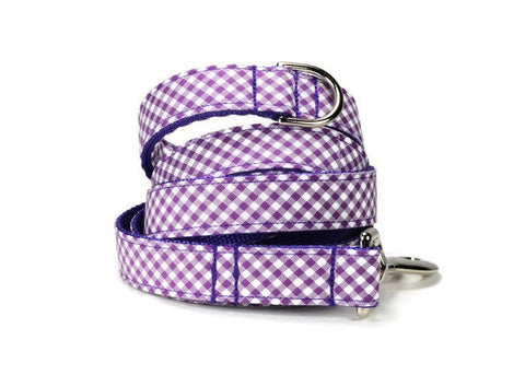 Purple Gingham Bow Tie Collar and Leash Set