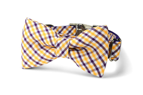 Purple And Gold Gingham Bow Tie Dog Collar