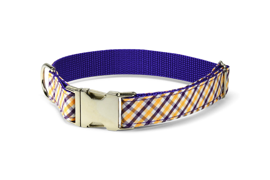 Purple And Gold Gingham Dog Collar