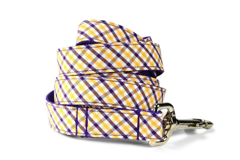 Purple And Gold Gingham Dog Leash