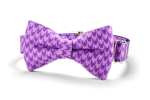 Purple Houndstooth Bow Tie Dog Collar