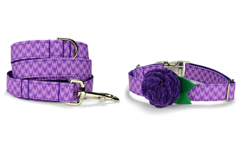 Purple Houndstooth Bloom Collar and Leash Set w/ Purple Bloom