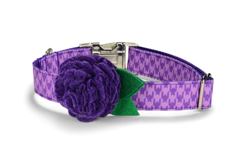 Purple Houndstooth Bloom Dog Collar w/ Purple Bloom