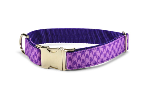 Purple Houndstooth Bow Tie Collar and Leash Set