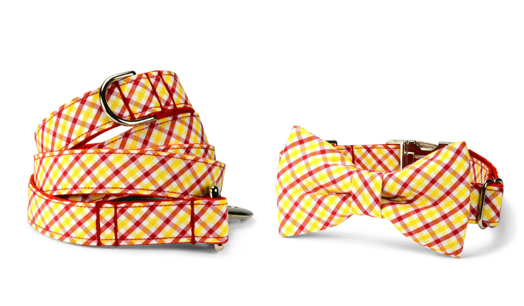 Red And Gold Gingham Bow Tie Collar and Leash Set