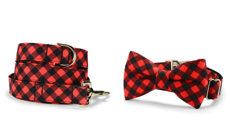 Red And Black Buffalo Plaid Bow Tie Collar and Leash Set