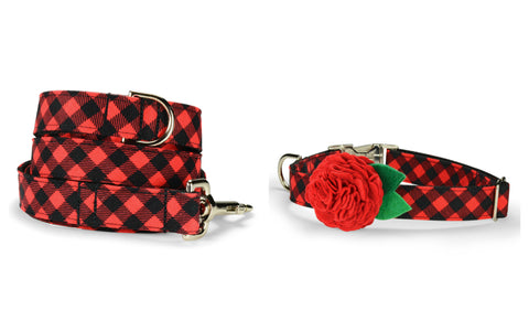 Red And Black Buffalo Plaid Bloom Collar and Leash Set w/ Red Bloom