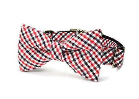 Red and Black Gingham Bow Tie Dog Collar