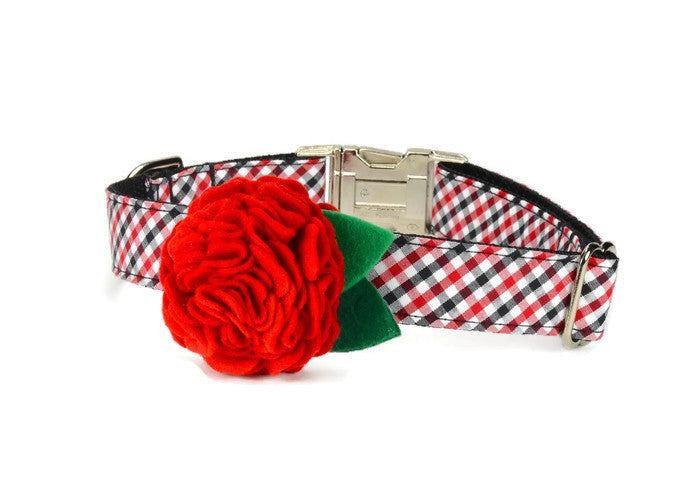 Red And Black Gingham Bloom Dog Collar w/ Red Bloom