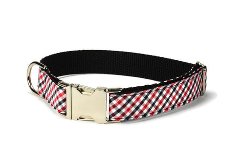 Red And Black Gingham Bow Tie Collar and Leash Set