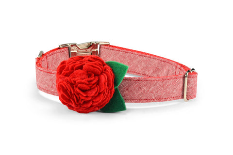 New! Red Washed Linen Bloom Dog Collar w/ Red Bloom