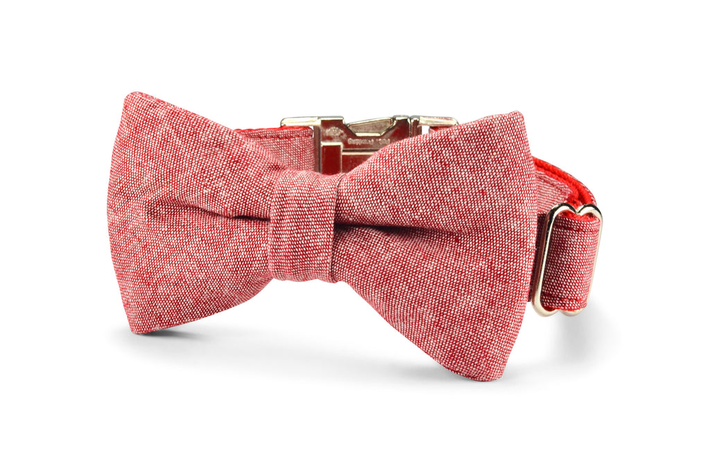 Red Washed Linen Bow Tie Dog Collar