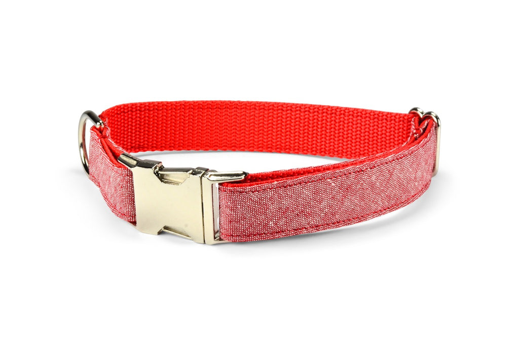 Red Washed Linen Dog Collar
