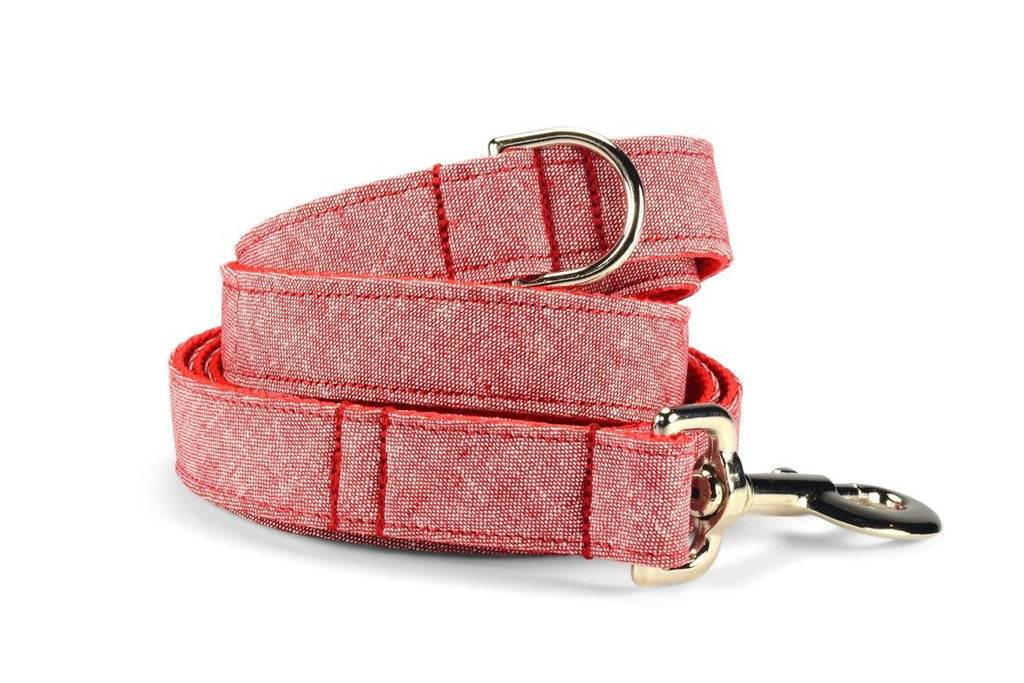 Red Washed Linen Dog Leash