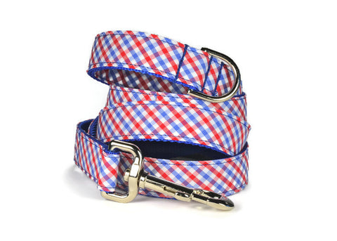 Red And Blue Gingham Bow Tie Collar and Leash Set