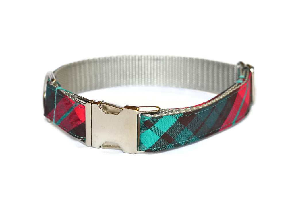 Red And Teal Plaid Dog Collar