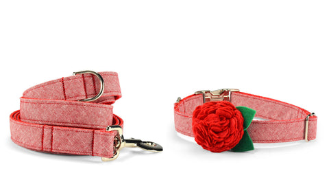 New! Red Washed Linen Bloom Collar and Leash Set w/ Red Bloom