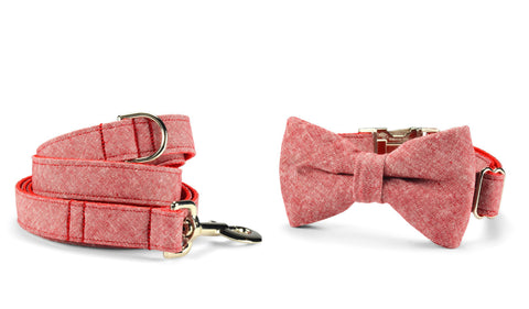New! Red Washed Linen Bow Tie Collar and Leash Set