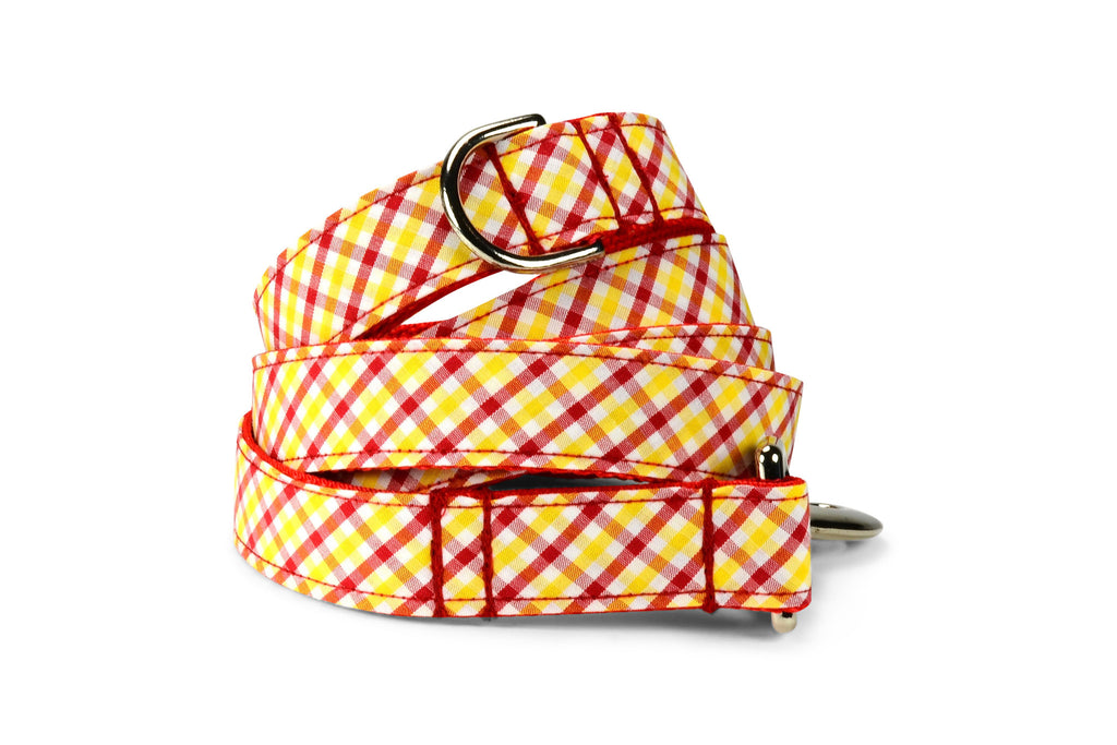 Red And Gold Gingham Dog Leash