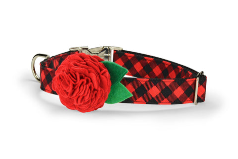 Red And Black Buffalo Plaid Bloom Dog Collar w/ Red Bloom