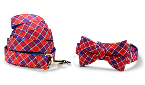 Red And Royal Plaid Bow Tie Collar and Leash Set