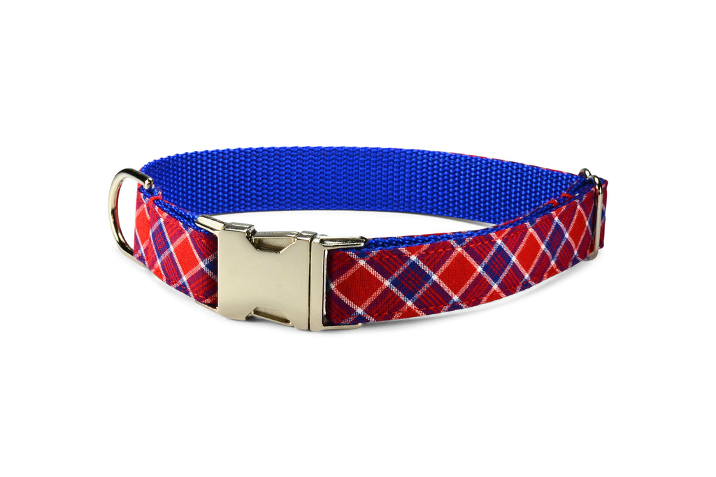 Red And Royal Plaid Dog Collar