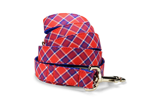 Red And Royal Plaid Dog Leash