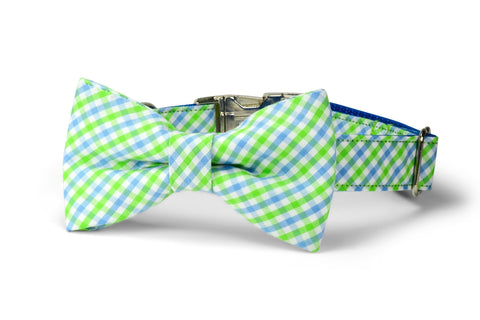 Seaside Gingham Bow Tie Dog Collar