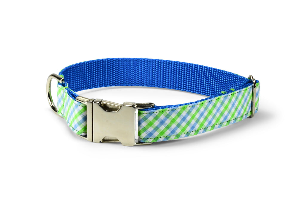 Seaside Gingham Dog Collar