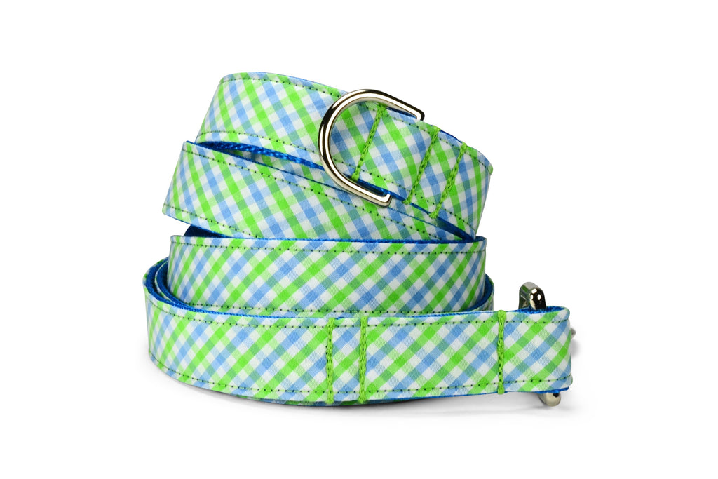 Seaside Gingham Dog Leash