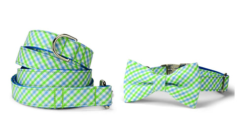 Seaside Gingham Bow Tie Collar and Leash Set