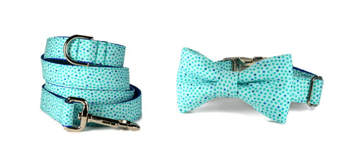 Seaside Polka Dot Bow Tie Dog Collar and Leash Set