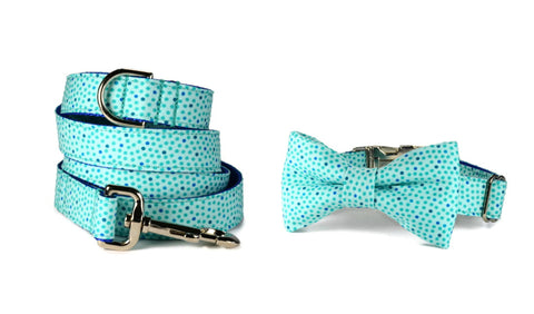 Seaside Polka Dot Bow Tie Collar and Leash Set